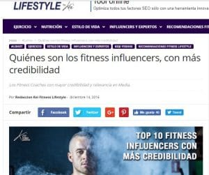 web lifestyle influencers del fitness
