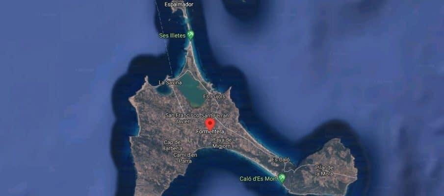 Formentera. Islas Baleares. Imagen aérea de la isla